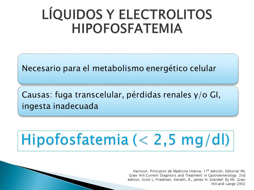 Necesario para el metabolismo energético celular Causas: fuga transcelular, pérdidas renales y/o GI, ingesta inadecuada LÍQUIDOS Y ELECTROLITOS HIPOFO