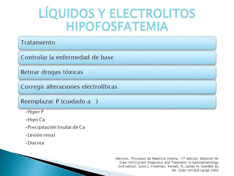 Tratamiento:Controlar la enfermedad de baseRetirar drogas tóxicasCorregir alteraciones electrolíticasReemplazar P (cuidado a: ) Hiper P Hipo Ca Precip