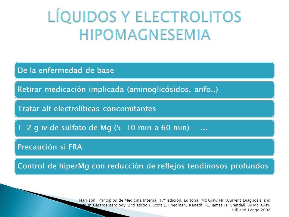 De la enfermedad de baseRetirar medicación implicada (aminoglicósidos, anfo..)Tratar alt electrolíticas concomitantes1-2 g iv de sulfato de Mg (5-10 m
