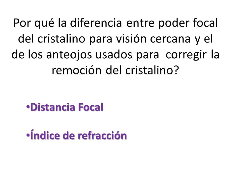 Por qué la diferencia entre poder focal del cristalino para visión cercana y el de los anteojos usados para corregir la remoción del cristalino? Dista