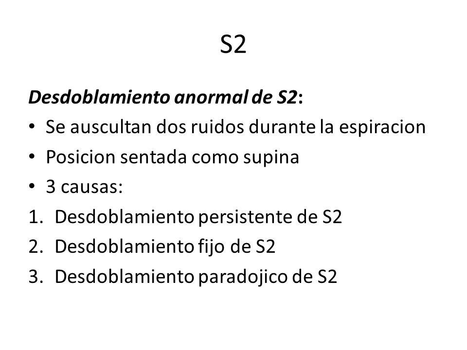 S2 Desdoblamiento anormal de S2: Se auscultan dos ruidos durante la espiracion Posicion sentada como supina 3 causas: 1.Desdoblamiento persistente de