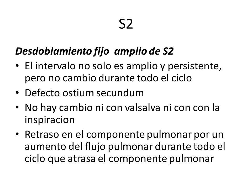 S2 Desdoblamiento fijo amplio de S2 El intervalo no solo es amplio y persistente, pero no cambio durante todo el ciclo Defecto ostium secundum No hay