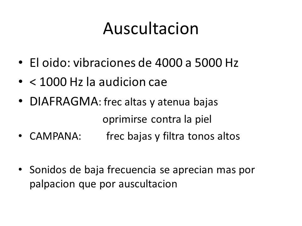 Auscultacion El oido: vibraciones de 4000 a 5000 Hz < 1000 Hz la audicion cae DIAFRAGMA : frec altas y atenua bajas oprimirse contra la piel CAMPANA: