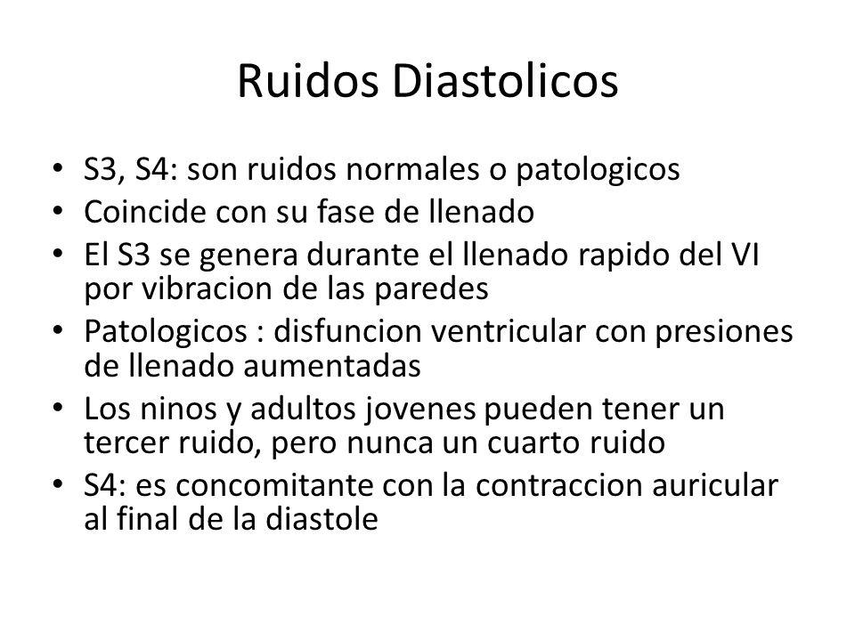 Ruidos Diastolicos S3, S4: son ruidos normales o patologicos Coincide con su fase de llenado El S3 se genera durante el llenado rapido del VI por vibr