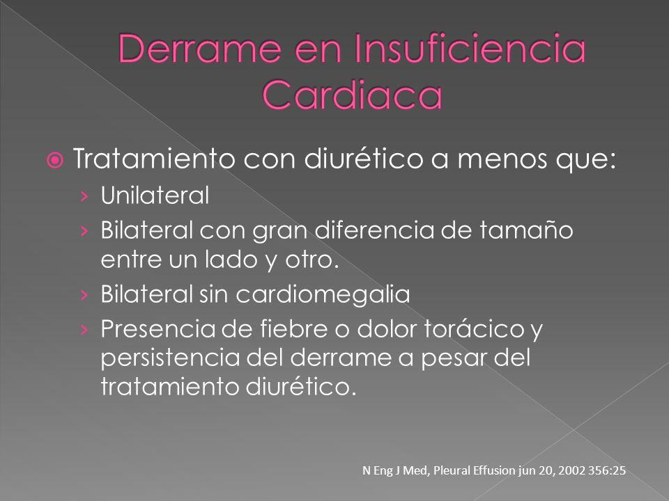 Tratamiento con diurético a menos que: Unilateral Bilateral con gran diferencia de tamaño entre un lado y otro. Bilateral sin cardiomegalia Presencia