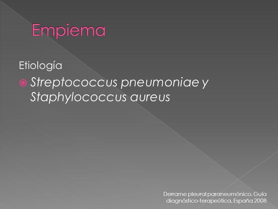 Etiología Streptococcus pneumoniae y Staphylococcus aureus Derrame pleural paraneumónico. Guía diagnóstico-terapeútica, España 2008
