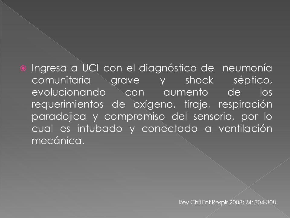 Ingresa a UCI con el diagnóstico de neumonía comunitaria grave y shock séptico, evolucionando con aumento de los requerimientos de oxígeno, tiraje, re