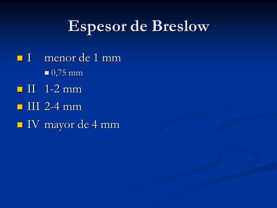 Espesor de Breslow I menor de 1 mm I menor de 1 mm 0,75 mm 0,75 mm II1-2 mm II1-2 mm III2-4 mm III2-4 mm IVmayor de 4 mm IVmayor de 4 mm