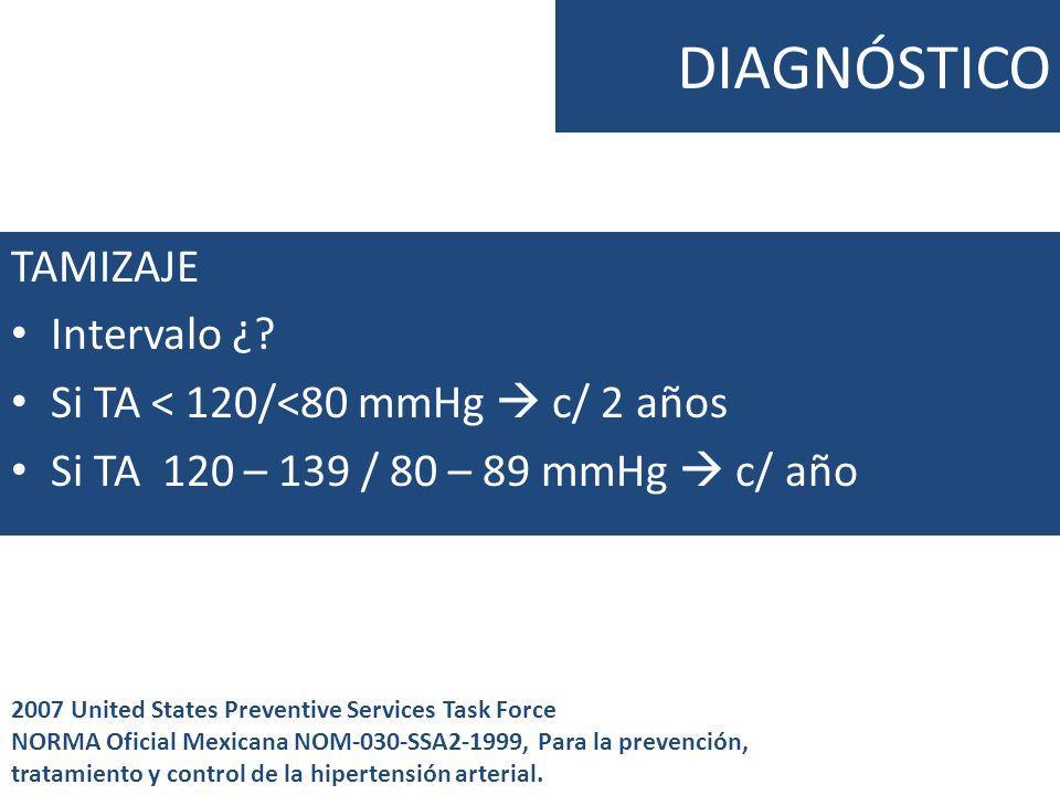 DIAGNÓSTICO TAMIZAJE Intervalo ¿? Si TA < 120/<80 mmHg c/ 2 años Si TA 120 – 139 / 80 – 89 mmHg c/ año 2007 United States Preventive Services Task For