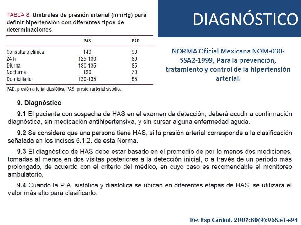 NORMA Oficial Mexicana NOM-030- SSA2-1999, Para la prevención, tratamiento y control de la hipertensión arterial. Rev Esp Cardiol. 2007;60(9):968.e1-e
