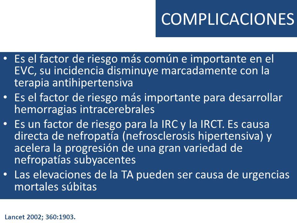 COMPLICACIONES Es el factor de riesgo más común e importante en el EVC, su incidencia disminuye marcadamente con la terapia antihipertensiva Es el fac