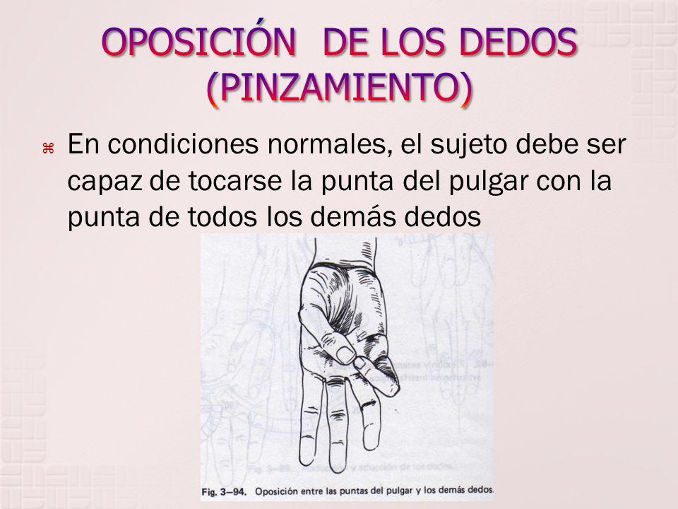 En condiciones normales, el sujeto debe ser capaz de tocarse la punta del pulgar con la punta de todos los demás dedos