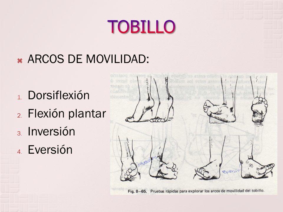 ARCOS DE MOVILIDAD: 1. Dorsiflexión 2. Flexión plantar 3. Inversión 4. Eversión