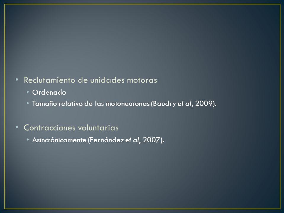 Reclutamiento de unidades motoras Ordenado Tamaño relativo de las motoneuronas (Baudry et al, 2009). Contracciones voluntarias Asincrónicamente (Ferná