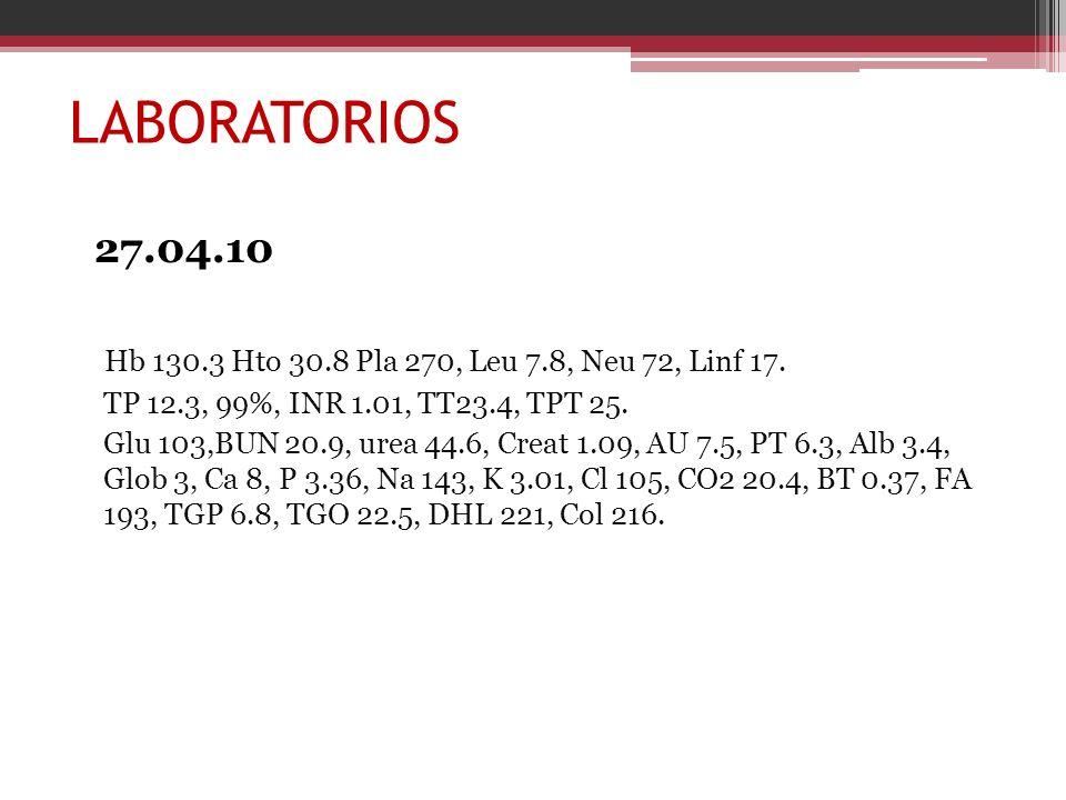 LABORATORIOS 27.04.10 Hb 130.3 Hto 30.8 Pla 270, Leu 7.8, Neu 72, Linf 17. TP 12.3, 99%, INR 1.01, TT23.4, TPT 25. Glu 103,BUN 20.9, urea 44.6, Creat