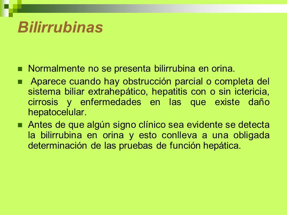 Bilirrubinas Normalmente no se presenta bilirrubina en orina. Aparece cuando hay obstrucción parcial o completa del sistema biliar extrahepático, hepa