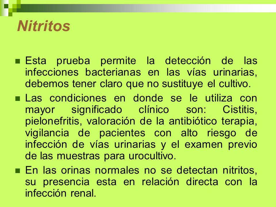 Nitritos Esta prueba permite la detección de las infecciones bacterianas en las vías urinarias, debemos tener claro que no sustituye el cultivo. Las c