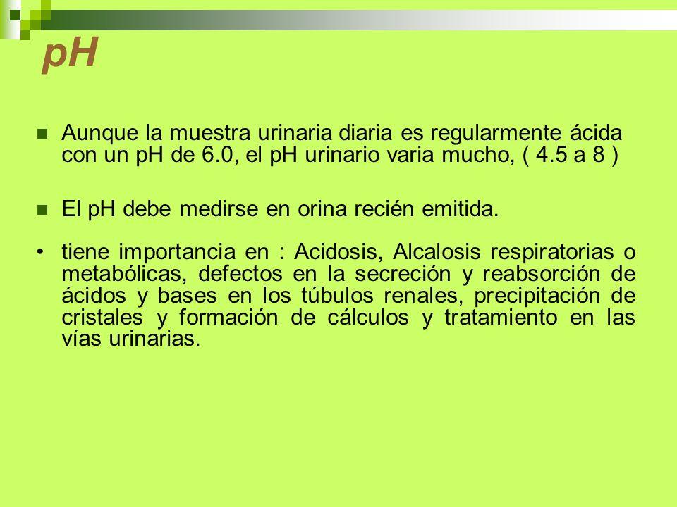 pH Aunque la muestra urinaria diaria es regularmente ácida con un pH de 6.0, el pH urinario varia mucho, ( 4.5 a 8 ) El pH debe medirse en orina recié