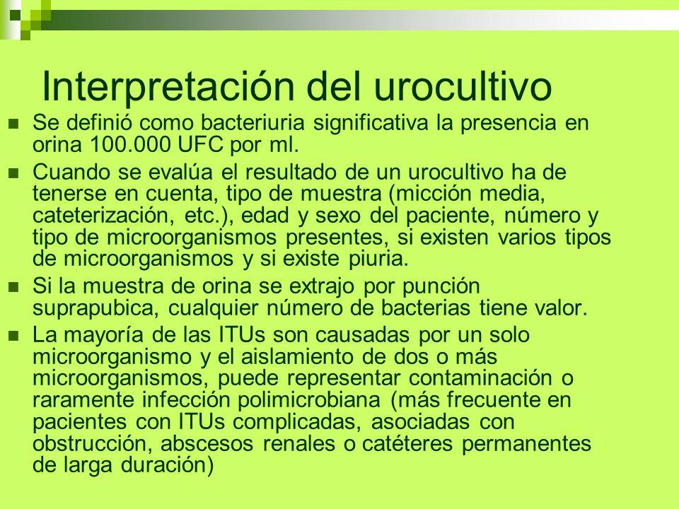Interpretación del urocultivo Se definió como bacteriuria significativa la presencia en orina 100.000 UFC por ml. Cuando se evalúa el resultado de un