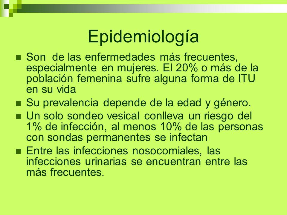 Epidemiología Son de las enfermedades más frecuentes, especialmente en mujeres. El 20% o más de la población femenina sufre alguna forma de ITU en su