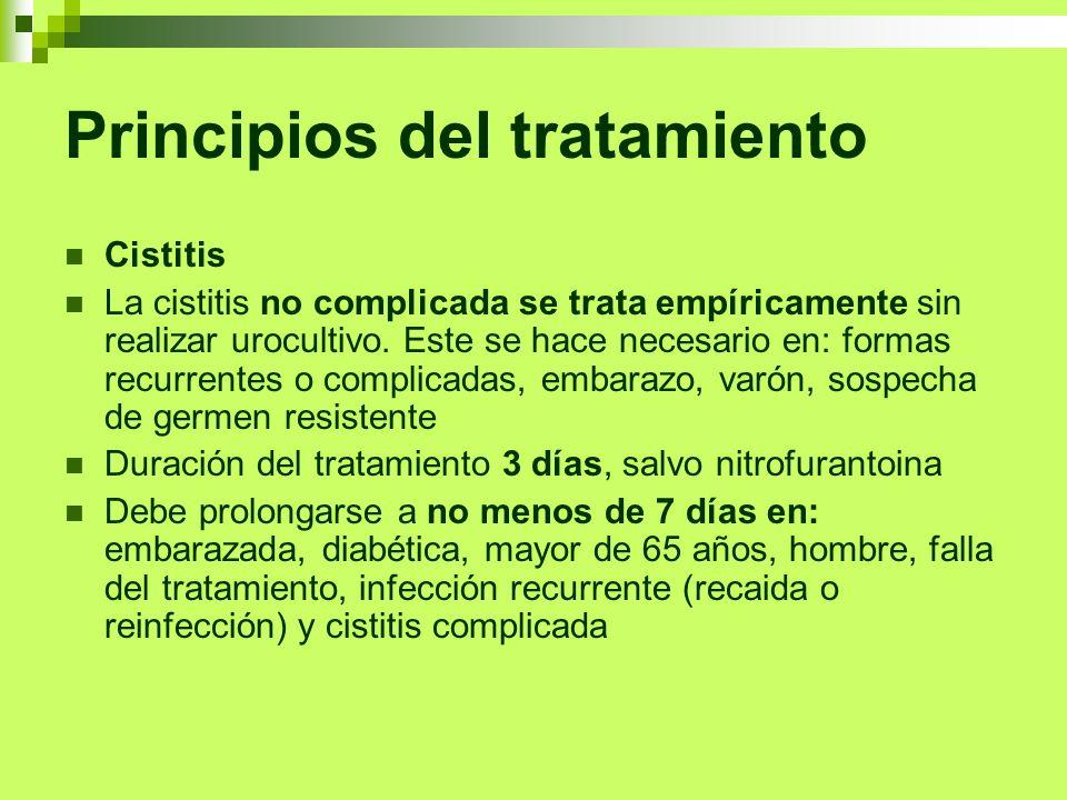 Principios del tratamiento Cistitis La cistitis no complicada se trata empíricamente sin realizar urocultivo. Este se hace necesario en: formas recurr