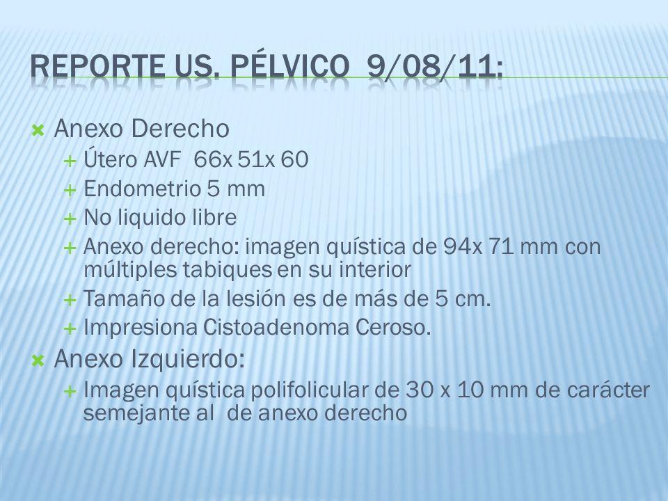Anexo Derecho Útero AVF 66x 51x 60 Endometrio 5 mm No liquido libre Anexo derecho: imagen quística de 94x 71 mm con múltiples tabiques en su interior