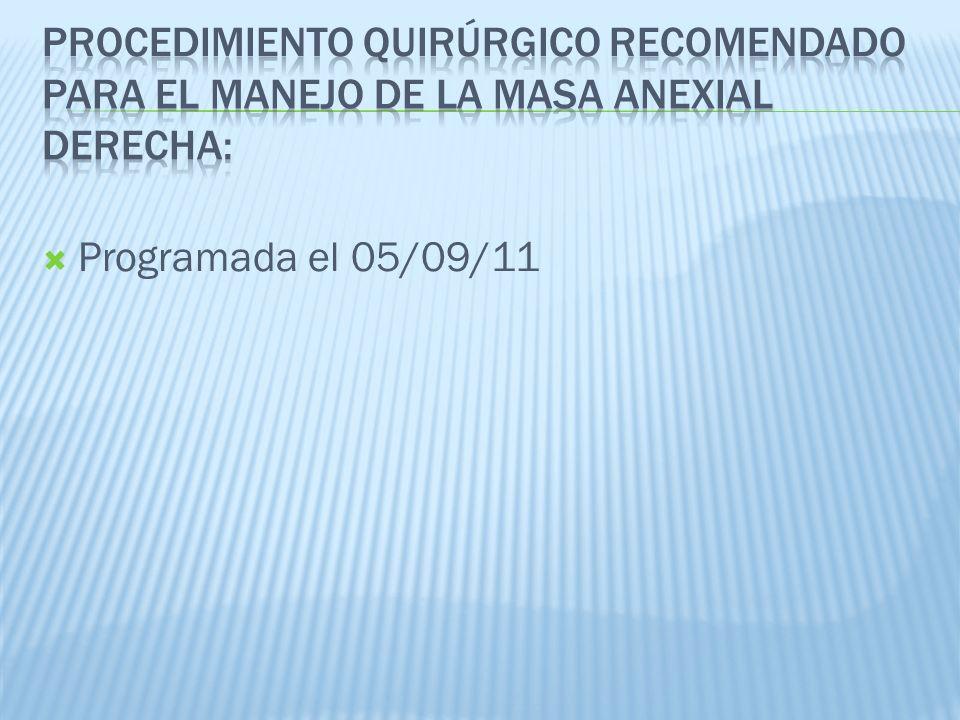 Programada el 05/09/11