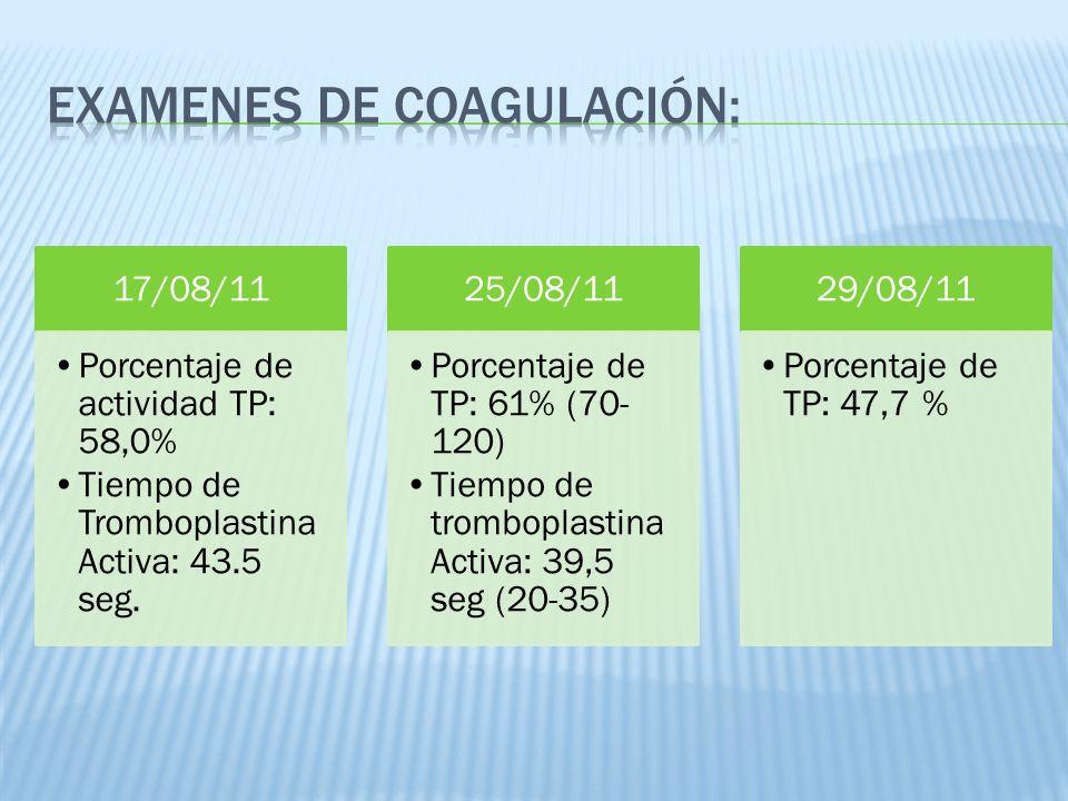 17/08/11 Porcentaje de actividad TP: 58,0% Tiempo de Tromboplastina Activa: 43.5 seg. 25/08/11 Porcentaje de TP: 61% (70- 120) Tiempo de tromboplastin
