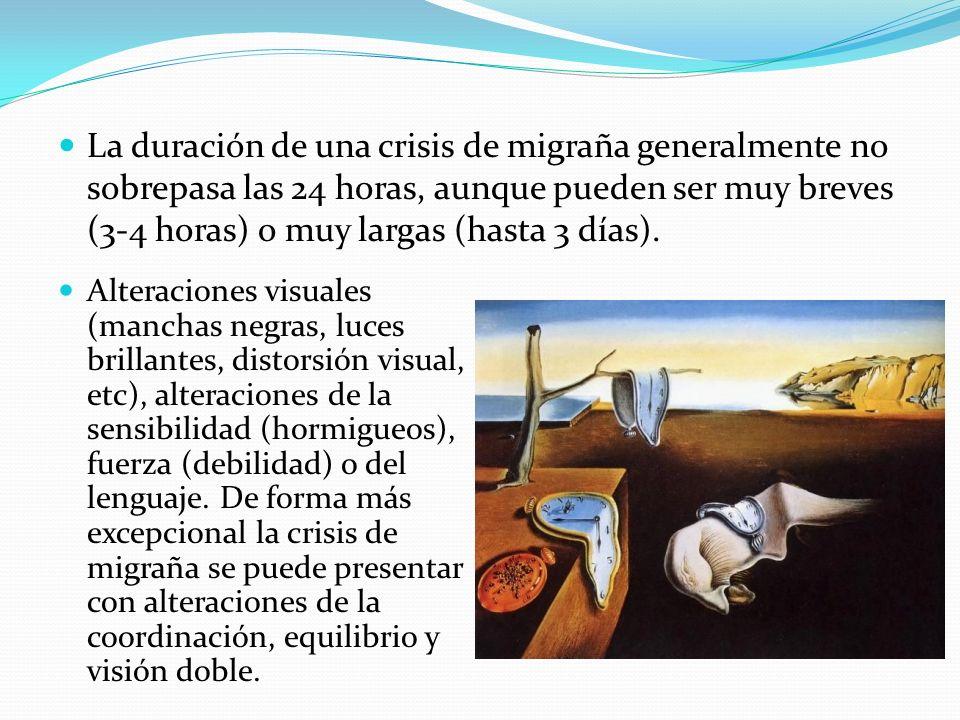 La duración de una crisis de migraña generalmente no sobrepasa las 24 horas, aunque pueden ser muy breves (3-4 horas) o muy largas (hasta 3 días). Alt