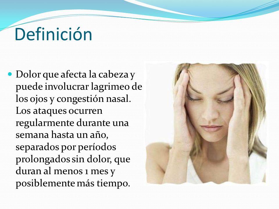 Definición Dolor que afecta la cabeza y puede involucrar lagrimeo de los ojos y congestión nasal. Los ataques ocurren regularmente durante una semana
