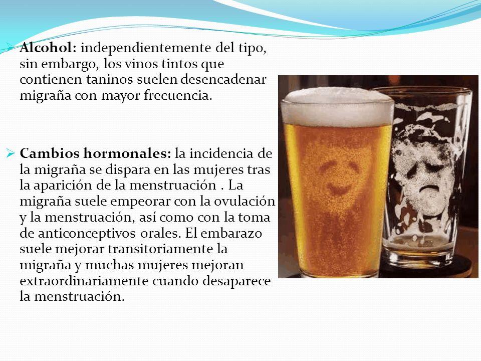 Alcohol: independientemente del tipo, sin embargo, los vinos tintos que contienen taninos suelen desencadenar migraña con mayor frecuencia. Cambios ho