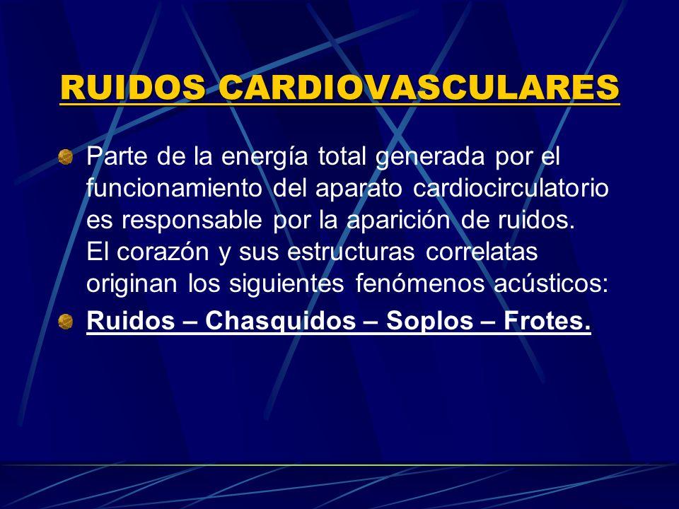 RUIDOS CARDIOVASCULARES Producidos por movimientos vibratorios de todas las estructuras que participan en el funcionamiento del corazón: Atrios - valvas A.V.