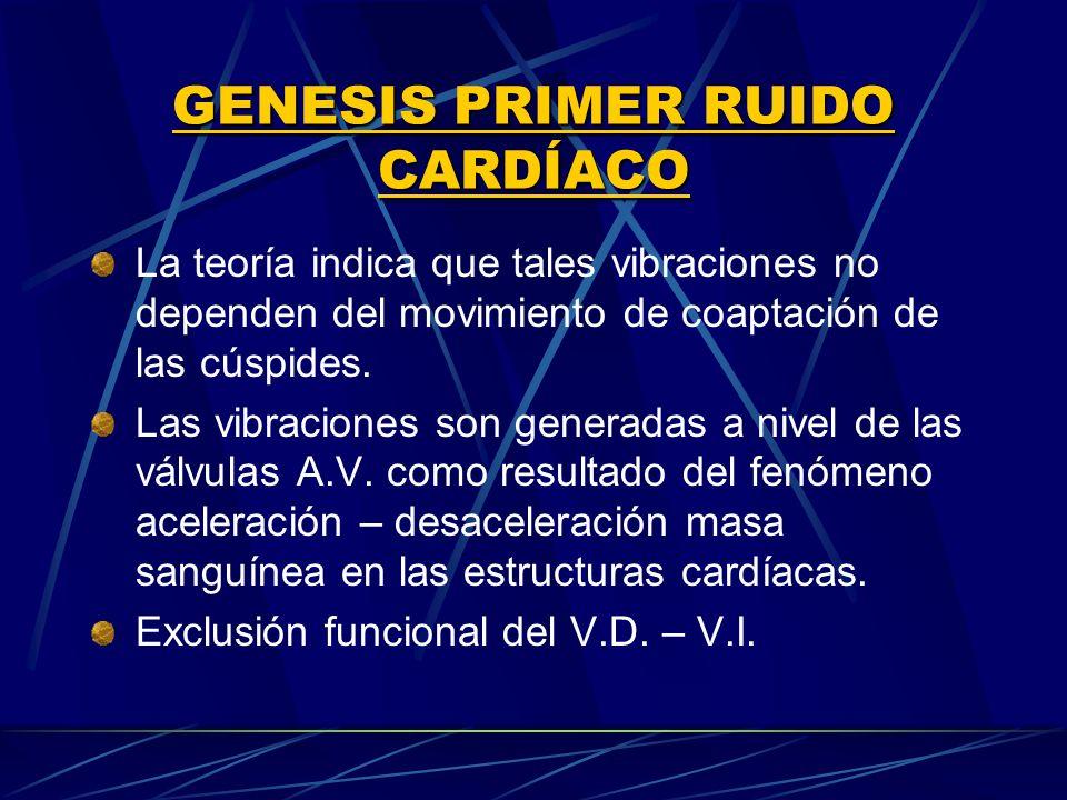 GENESIS PRIMER RUIDO CARDÍACO La teoría indica que tales vibraciones no dependen del movimiento de coaptación de las cúspides. Las vibraciones son gen