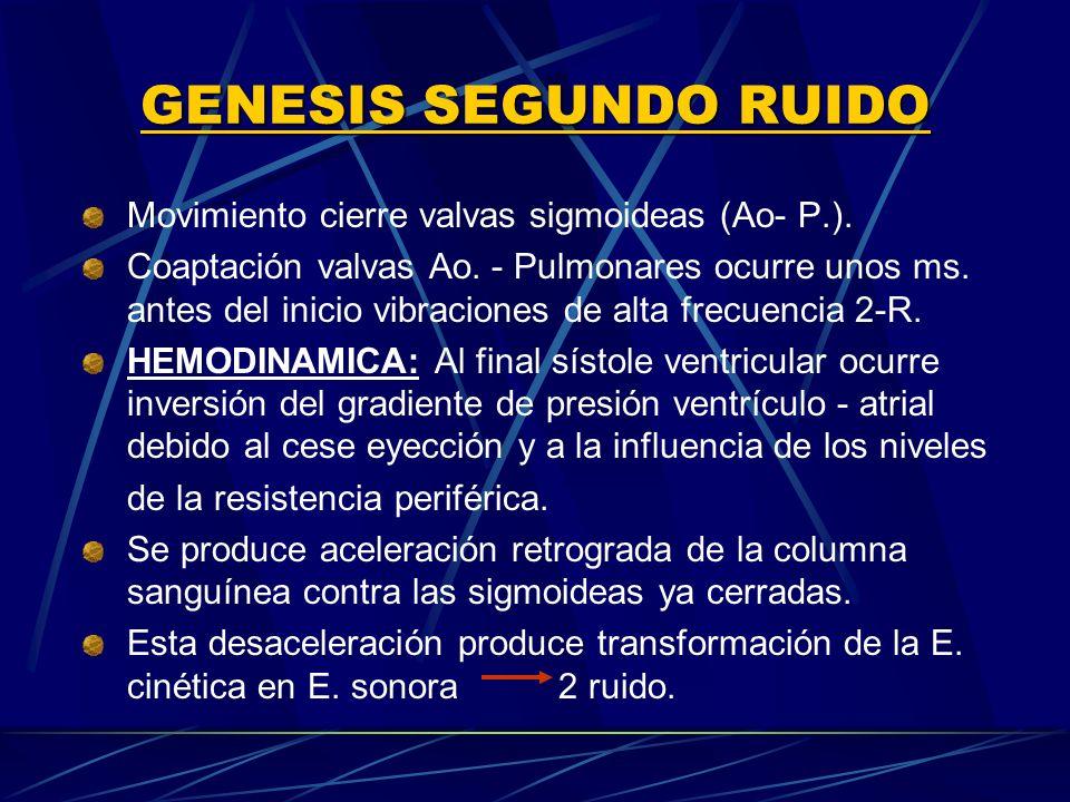GENESIS SEGUNDO RUIDO Movimiento cierre valvas sigmoideas (Ao P.). Coaptación valvas Ao. Pulmonares ocurre unos ms. antes del inicio vibraciones de al