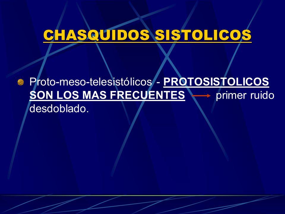 CHASQUIDOS SISTOLICOS Proto meso telesistólicos - PROTOSISTOLICOS SON LOS MAS FRECUENTES primer ruido desdoblado.