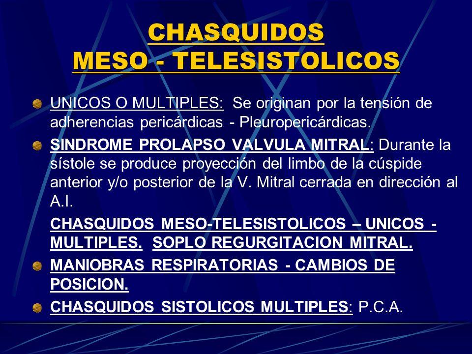 CHASQUIDOS MESO TELESISTOLICOS UNICOS O MULTIPLES: Se originan por la tensión de adherencias pericárdicas Pleuropericárdicas. SINDROME PROLAPSO VALVUL