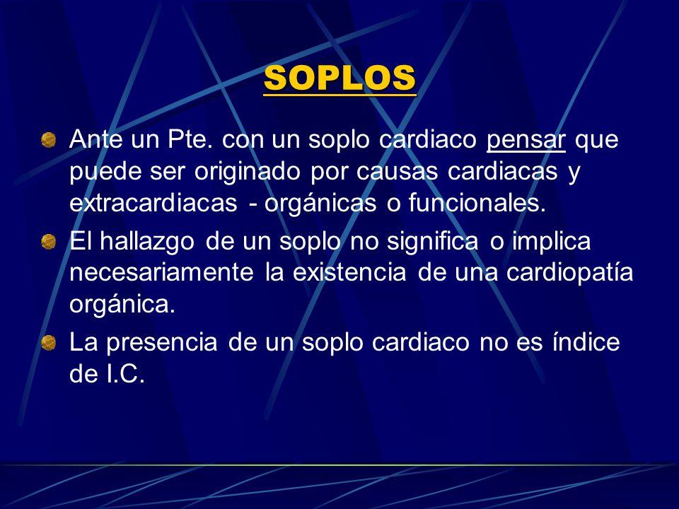 SOPLOS Ante un Pte. con un soplo cardiaco pensar que puede ser originado por causas cardiacas y extracardiacas orgánicas o funcionales. El hallazgo de