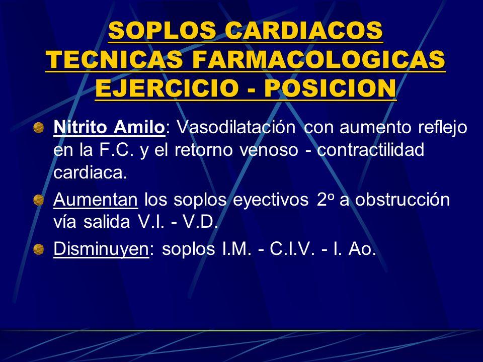 SOPLOS CARDIACOS TECNICAS FARMACOLOGICAS EJERClCIO POSICION Nitrito Amilo: Vasodilatación con aumento reflejo en la F.C. y el retorno venoso contracti