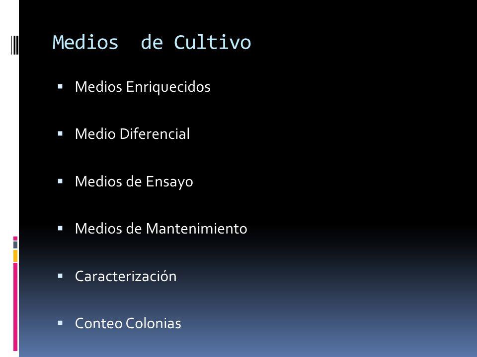 Medios de Cultivo Medios Enriquecidos Medio Diferencial Medios de Ensayo Medios de Mantenimiento Caracterización Conteo Colonias