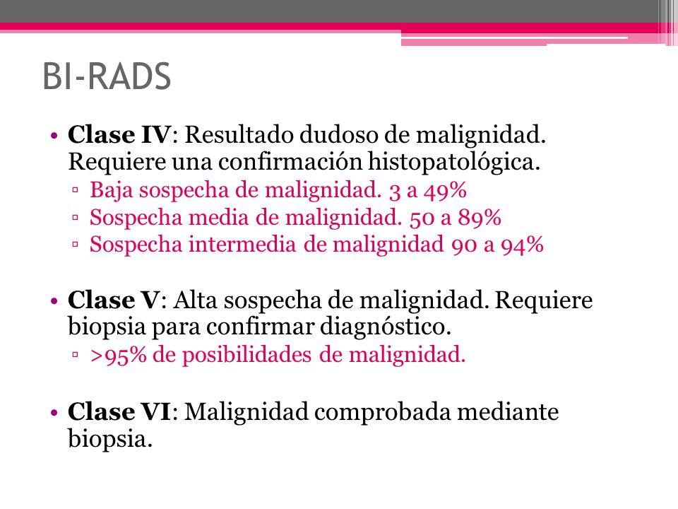 BI-RADS Clase IV: Resultado dudoso de malignidad. Requiere una confirmación histopatológica. Baja sospecha de malignidad. 3 a 49% Sospecha media de ma