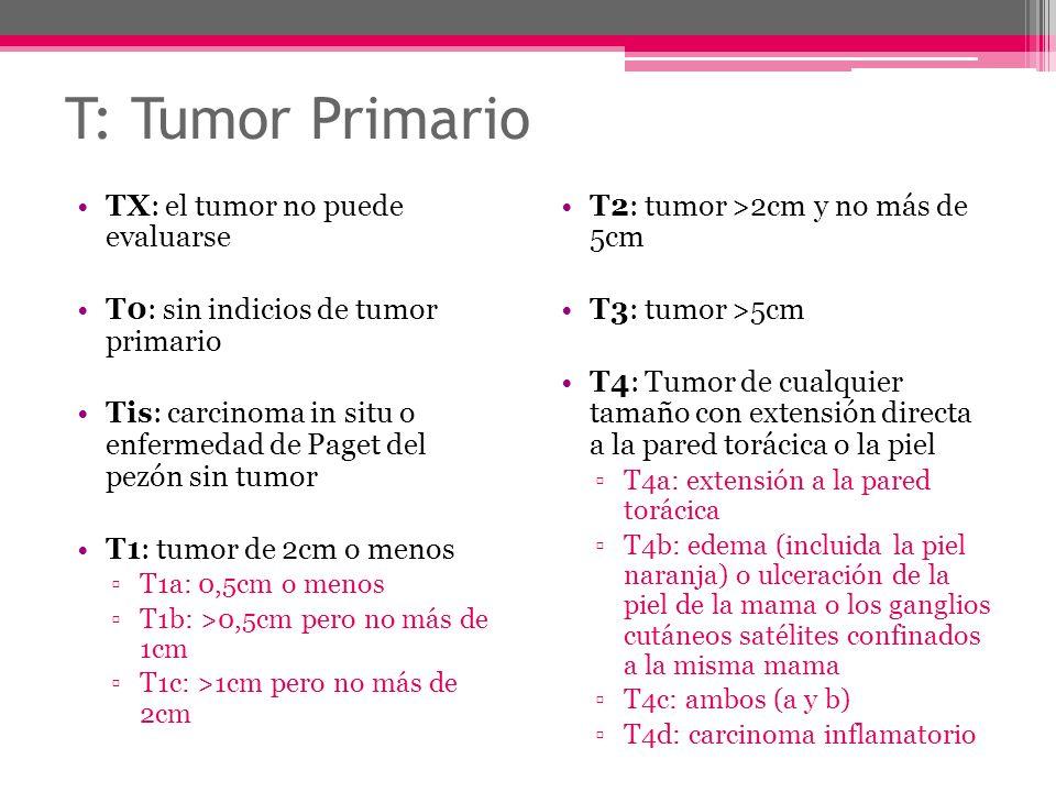 T: Tumor Primario TX: el tumor no puede evaluarse T0: sin indicios de tumor primario Tis: carcinoma in situ o enfermedad de Paget del pezón sin tumor