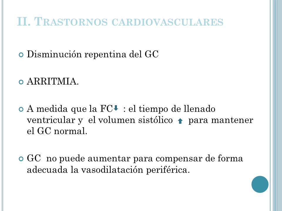 II. T RASTORNOS CARDIOVASCULARES Disminución repentina del GC ARRITMIA. A medida que la FC : el tiempo de llenado ventricular y el volumen sistólico p