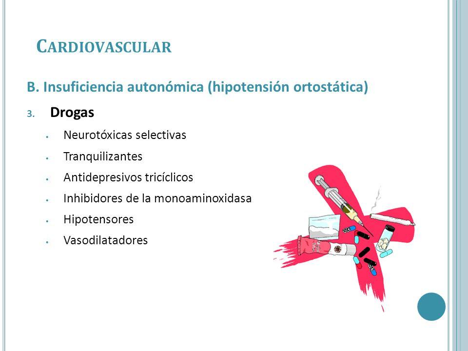 B. Insuficiencia autonómica (hipotensión ortostática) 3. Drogas Neurotóxicas selectivas Tranquilizantes Antidepresivos tricíclicos Inhibidores de la m