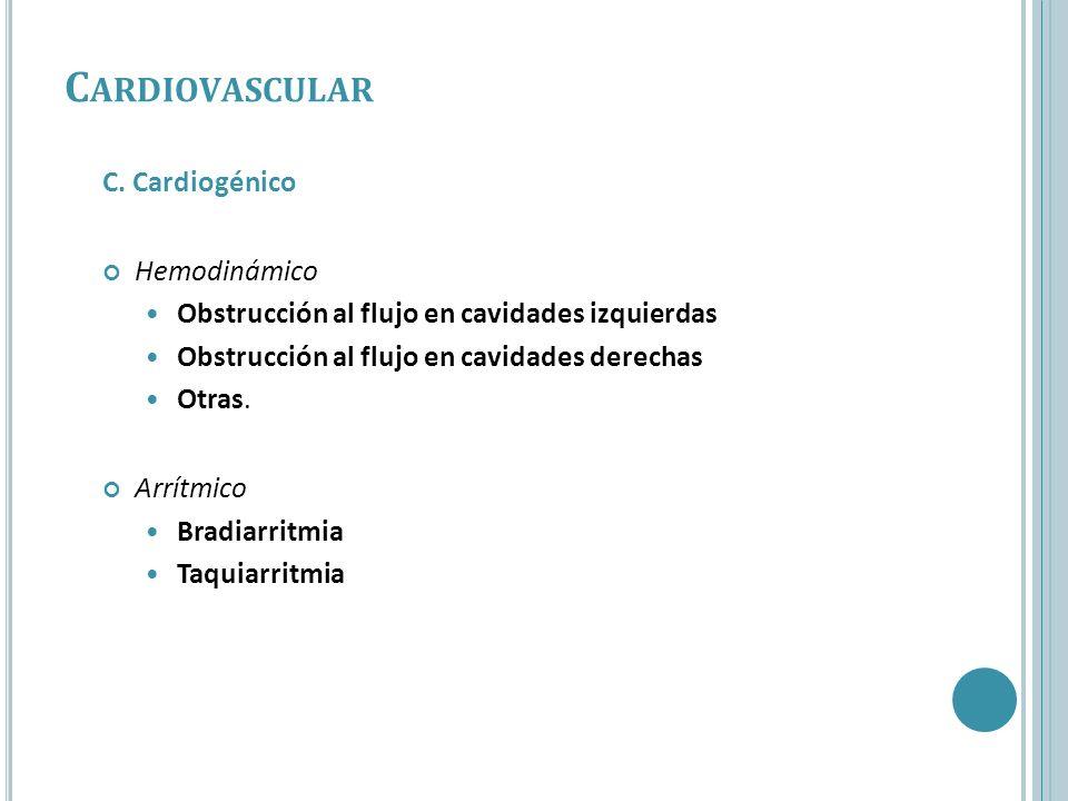 C. Cardiogénico Hemodinámico Obstrucción al flujo en cavidades izquierdas Obstrucción al flujo en cavidades derechas Otras. Arrítmico Bradiarritmia Ta