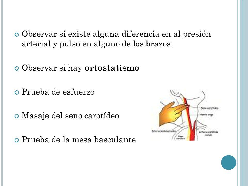 Observar si existe alguna diferencia en al presión arterial y pulso en alguno de los brazos. Observar si hay ortostatismo Prueba de esfuerzo Masaje de