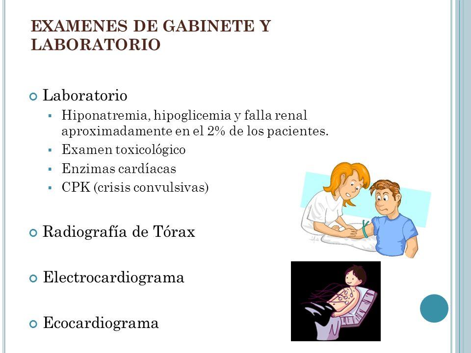 EXAMENES DE GABINETE Y LABORATORIO Laboratorio Hiponatremia, hipoglicemia y falla renal aproximadamente en el 2% de los pacientes. Examen toxicológico