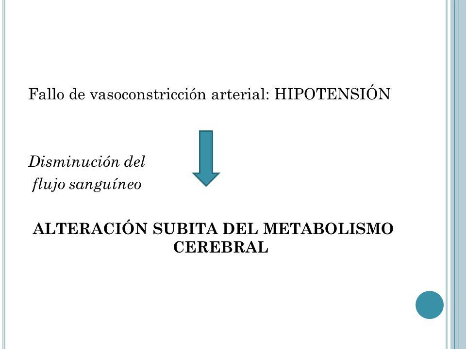 Fallo de vasoconstricción arterial: HIPOTENSIÓN Disminución del flujo sanguíneo ALTERACIÓN SUBITA DEL METABOLISMO CEREBRAL