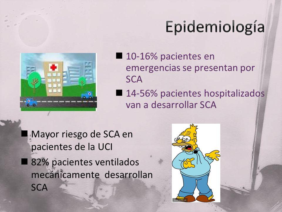 10-16% pacientes en emergencias se presentan por SCA 14-56% pacientes hospitalizados van a desarrollar SCA Mayor riesgo de SCA en pacientes de la UCI
