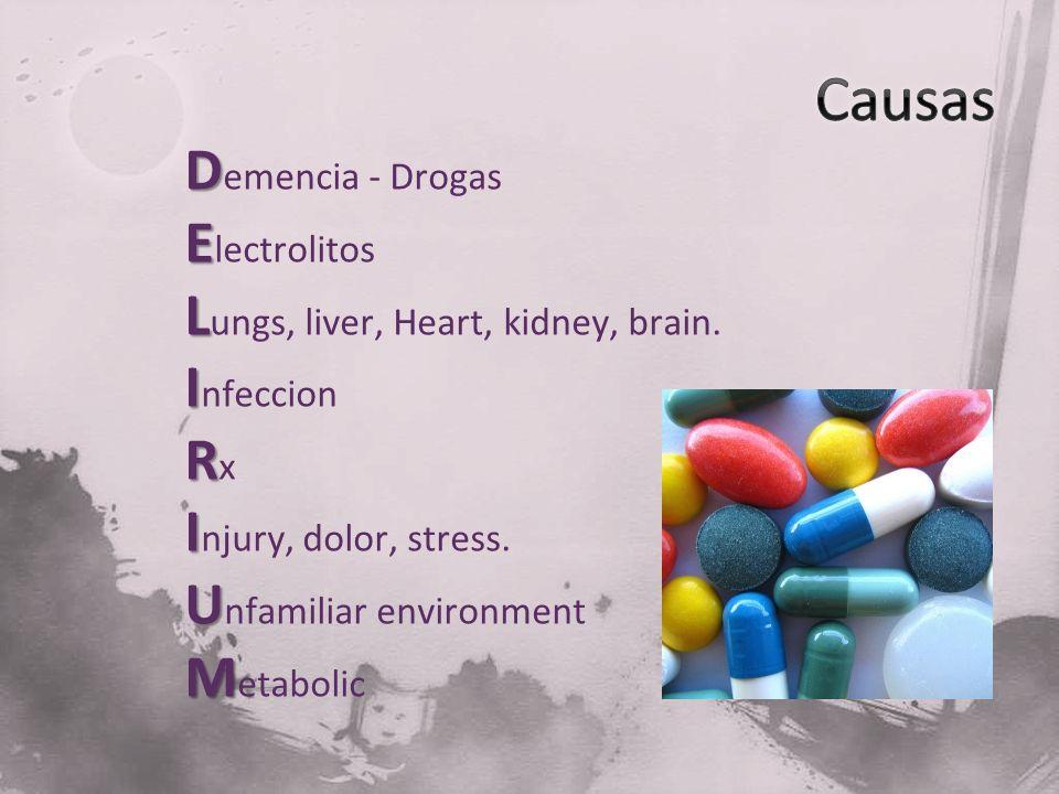 D D emencia - Drogas E E lectrolitos L L ungs, liver, Heart, kidney, brain. I I nfeccion R R x I I njury, dolor, stress. U U nfamiliar environment M M