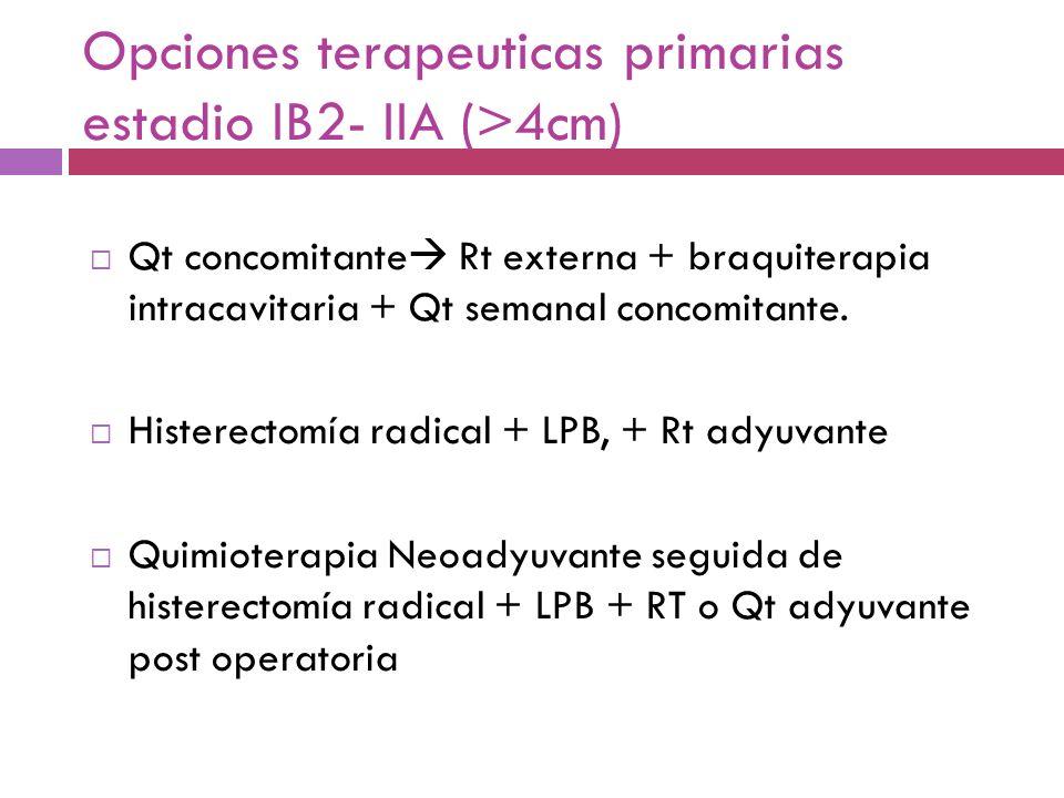 Opciones terapeuticas primarias estadio IB2- IIA (>4cm) Qt concomitante Rt externa + braquiterapia intracavitaria + Qt semanal concomitante. Histerect